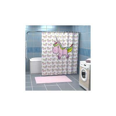 Rideau de douche licorne rose