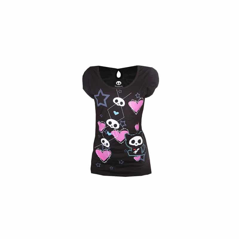 t shirt femme noir skelanimals chat